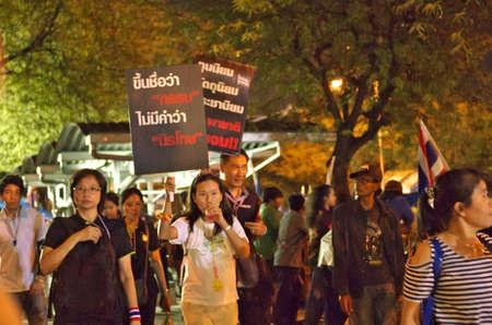 amnesty: BANGKOK,Thailand - NOVEMBER 11,2013   Anti-government protesters at the Democracy Monument in Bangkok, Thailand  The protest Against The Amnesty bill in Bangkok, capital of Thailand
