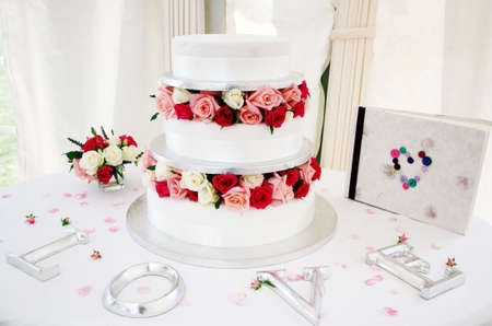 Wedding cake and adornments photo