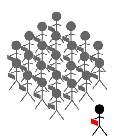 fade out: A faded crowd of stick people carrying black briefcases with one darker stick person standing off to the side carrying a red briefcase.  White background.