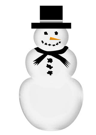 A large, happy snowman with a black top hat, black scarf, coal for his eyes, mouth, and buttons, and an orange carrot nose.