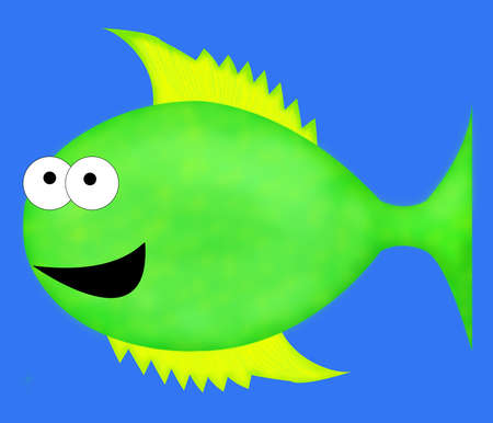 A large, green cartoon fish with big eyes and yellow fins. photo