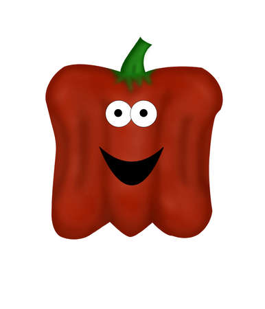 bell pepper: A large, cartoon red bell pepper with big eyes and a smile.