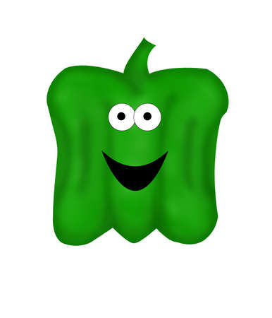 bell pepper: A large, cartoon green bell pepper with big eyes and a smile.