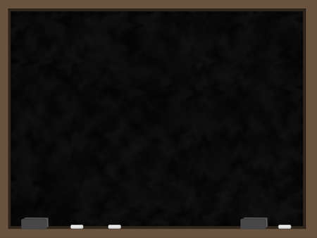 erased: A blank chalkboard with a black slate that appears to have been recently erased and wood trim.  Sitting on the bottom part of the trim are two grey erasers and three pieces of chalk. Stock Photo