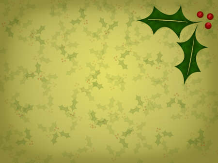 all in: Golden background with small, faded holly leaves all over it with two large, full color holly leaves in the upper right hand corner.