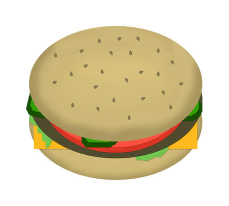 toasted: A large, single patty cheeseburger illustration with lettuce, tomato, and pickles on a sesame seed bun.  White background.