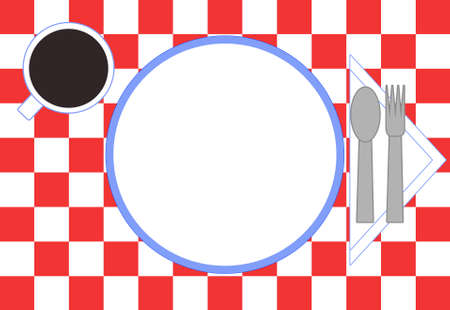 Red checkered tablecloth, plate, spoon, fork, napkin, and a cup of coffee.  All viewed as if from above looking down.  Cup, plate, and napkin are trimmed in blue. Stock Photo - 1720496