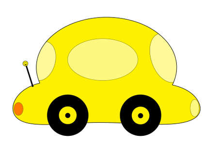 A yellow cartoon car on a white background. photo