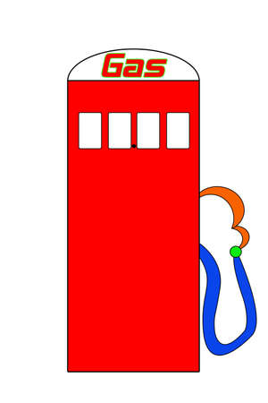 Brightly colored cartoon gas pump illustration.  Place for price is left blank. illustration