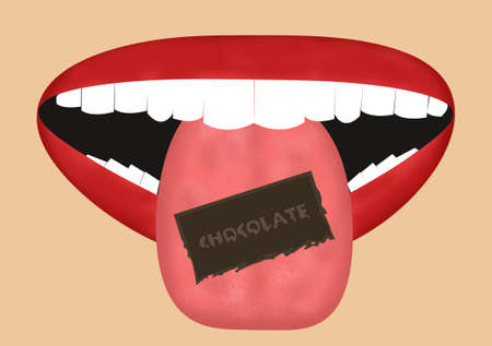 Cartoon mouth eating a piece of melting chocolate on the tongue with a skin tone background. photo