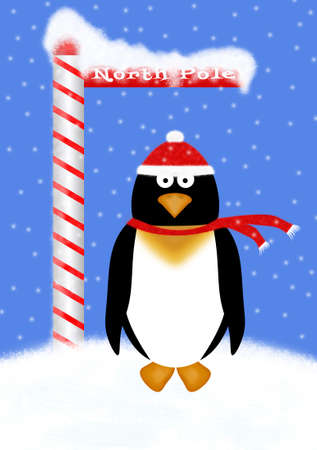 north pole: Cute cartoon penguin wearing a red and white knit hat and scarf, standing at the North Pole.