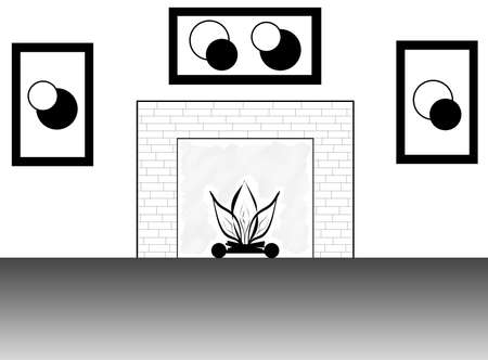 mantel: Black and white line art illustration of a room with a fireplace and matching modern art on the wall.