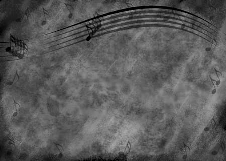 gray: Blue and black grunge type background with wavy music staff lines and several notes.