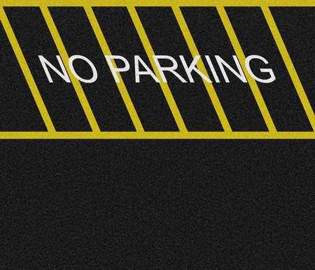 no parking: Pas de parking zone d�limit�e sur l'asphalte noir.