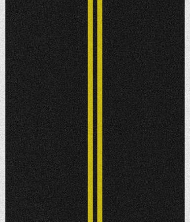 empedrado: Negro carretera asfaltada con doble l�neas amarillas en el medio en blanco y singles en los laterales.  Foto de archivo