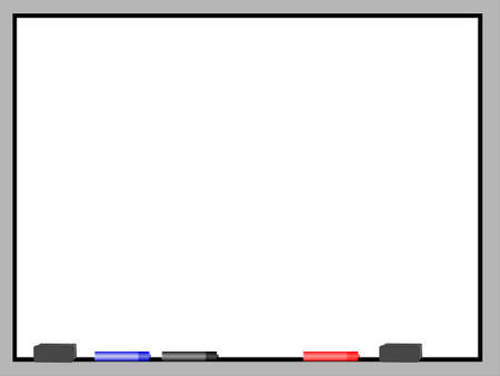 white trim: A blank dry erase board with metal trim.  Sitting on the bottom part of the trim are two grey eraser and three markers, black, red, and blue.