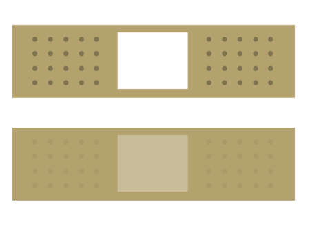 sides: Vector bandage illustrations, front and back sides. Illustration