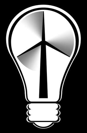 incandescent: A vector illustration of a windmill inside a light bulb representing alternative power sources.