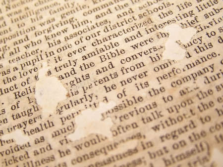 yellowed: Vintage newspaper clipping with typed text.  The page is worn, yellowed, and has holes in it from age.