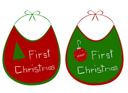 versions: An illustration of two versions of a First Christmas  bib that has a handmade appearance.  The year on the red ornament can be edited.