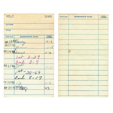 date book: Front and back of a vintage library book due date card from the 1960s isolated on a white background.  Last names have been digitally removed as well as the title and author of the book.   Stock Photo