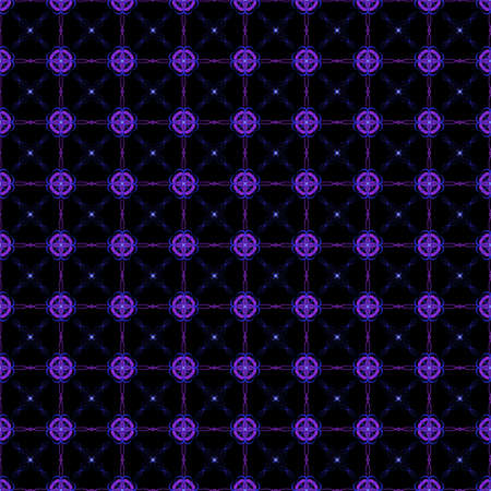 This beautiful seamless pattern features purple and blue geometric designs on a black background. This large tile can be pieced together to make an even bigger seamless illustration if needed.
