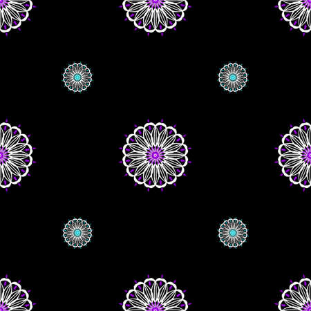 Pink, blue and white mandalas really stand out against the black background of this seamless pattern.