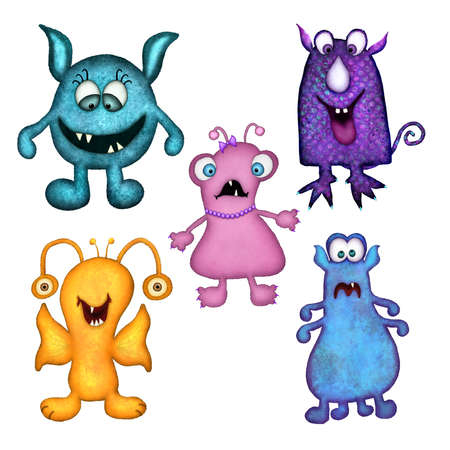 Set of five fun, colorful monsters that were hand drawn and then digitally painted. Each monster is isolated on a white background for easy extraction.