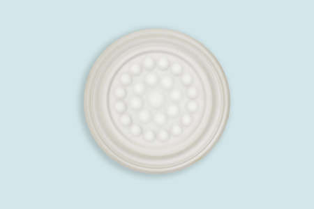 Top view-Empty white ceramic round dish plate isolated on blue background.