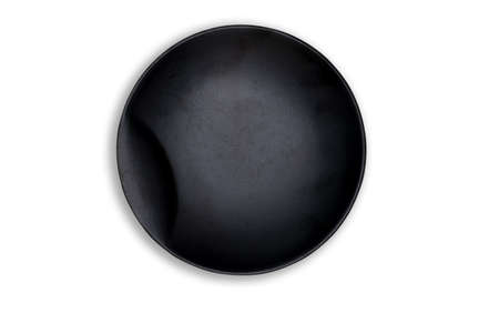 Top view-Empty black ceramic round dish plate isolated on white background. Stock Photo