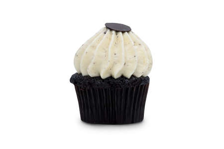 White chocolate cupcake isolated on white background.