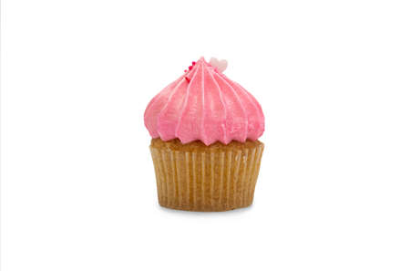 Pink chocolate cupcake isolated on white background. 免版税图像