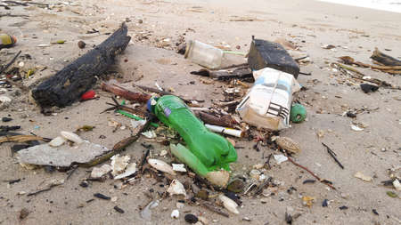 Garbage washes up on Songkhla beach.