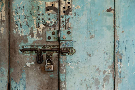 Close up-door lock old rusty.