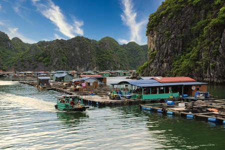 Floating village around Cat Ba island National Park in Vietnam