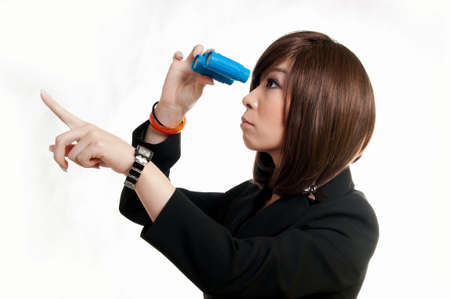 Attractive woman with binoculars - isolated on white Stock Photo - 13310964