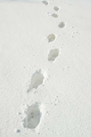 Footprints on snow surface