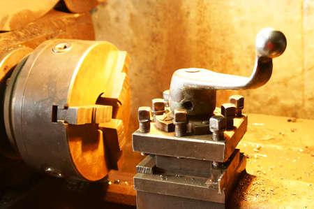 metal blank machining process on lathe with cutting tool Stock Photo - 13928391