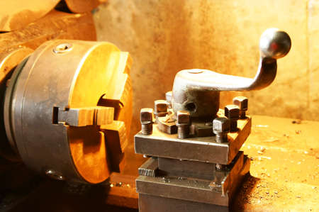 metal blank machining process on lathe with cutting tool Stock Photo - 13928391