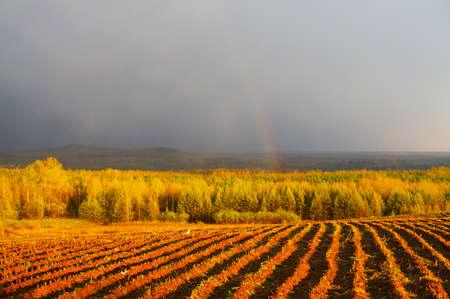 Beautiful countryside of the rainbow Stock Photo