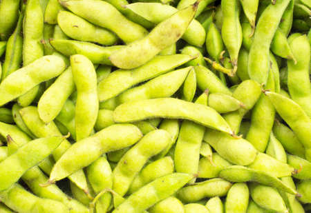 green soy bean on white background Stock Photo