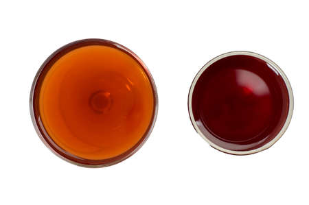 red wine glass: Two glass of red wine isolated on white background Stock Photo