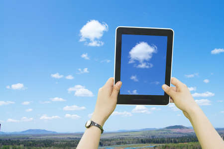 Woman hands holding electronic tablet pc with blank screen. Stock Photo - 15000705