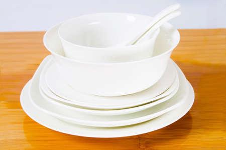 White ceramic tableware close-up
