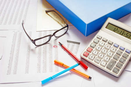 financial charts and graphs on the table Stock Photo - 16231474
