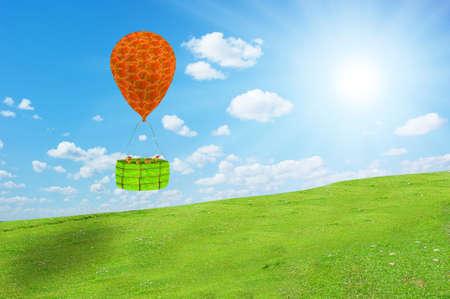 Ants in a hydrogen balloon flight Stock Photo
