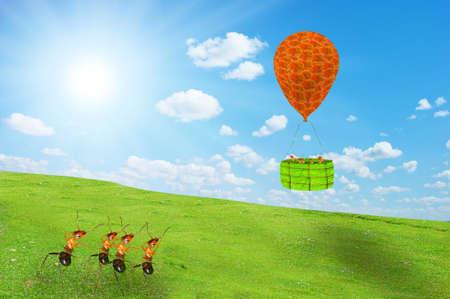 Ants in a hydrogen balloon flight Stock Photo - 17124807