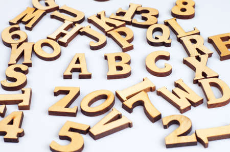 Close-up abc wooden letters isolated on white background Stock Photo - 17784225
