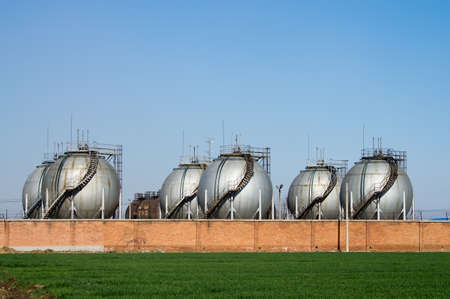 natural gas: The Big silver color Storage Tanks