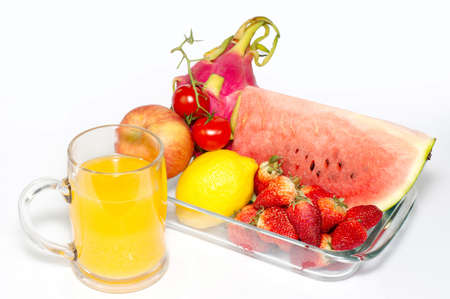 Many fresh fruits and juices, nutritious meals. photo